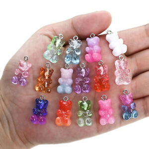 10pcs Cute DIY Gummy Bear Resin Charms Necklace Pendant Earring Jewelry Decor