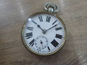 ANTIQUE LARGE 8 DAY GOLIATH POCKET WATCH WORKING