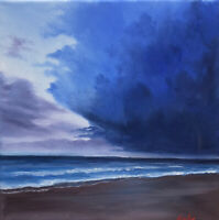 Original Ocean Oil Painting On Canvas Blue Stormy Beach Clouds Seascape 10x10