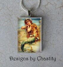 The Little Mermaid Girl Necklace VTG Glass Pendant Blue Sky Flower Long Hair