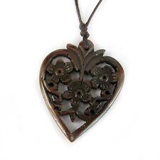 Tibet Bone Flowers Design Heart Pendant
