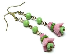 flower bead earrings - match 1930s necklaces Vintage Art Deco pink & green glass