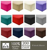 "Extra Deep Fitted Sheets 16""/40CM 100% Egyptian Cotton 200TC all 4 sizes"