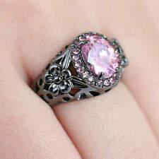 Size 8 Pink Sapphire Engagement & Wedding Ring Women's Black  Rhodium Plated