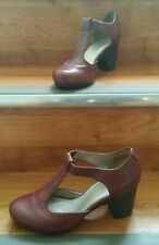 """Clarks Air Womens Shoes Burgundy Leather UK 6 EU 39 Mary Janes T Bar Heel 3"""""""