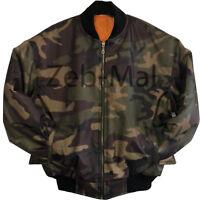 Mens MA1 Army Military Camo Winter Pilot Biker Security Bomber Jacket Big Sizes