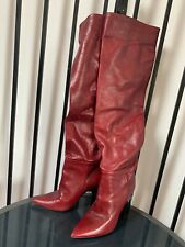 Zara burgundy red leather boots over knee boots s37/4