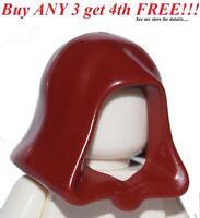 ☀️NEW Minifig Lego DARK RED HOOD Star Wars Jedi Hat Castle Kingdoms Head Gear