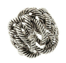 Twisted Rope Coiled Cable Silver Tone Metal Tangled Brass Ring Size 7