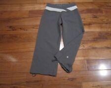 LULULEMON dharana astro crops grey stripe ziggy wee stripe s 4 drawcords in hem