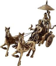 Krishna Arjuna Rath Brass Brass Statue Home Decor Sculpture Gift