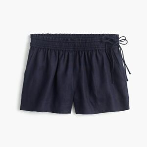 J Crew Women's High Rise Linen Elastic Lined Short W Side Ties Navy Blue Small