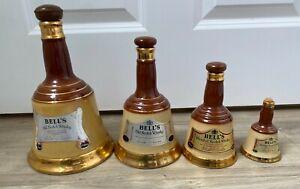 4x Wade Bells Old Scotch Whisky Bottle Ceramic Bell Shape Vintage Decanter #178