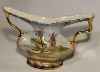 "Vintage Porcelain Handpainted Vase Sailboat Windmill Gold Trim Signed Italy 7"" T"