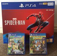 PS4 Playstation 4 Spider man 500GB Black Console + Crash Bandicoot & Kart Racers