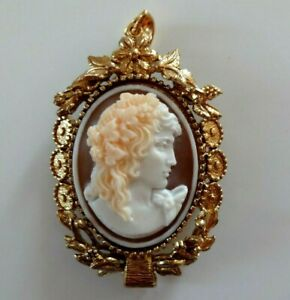 SHELL CAMEO  ANTINOO PENDENT AND BROOCH SIGNED A.PERNICE
