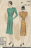 "1930s Vintage Sewing Pattern B40"" DRESS (R723) By ""Du Barry'"