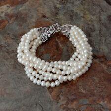 "8"" 7 Rows White Pearl Bracelet Cz Clasp"