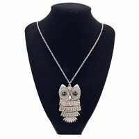 Vtg Silver Tone Articulated OWL Shaped Pendant Necklace Big Eyes Etched Boho