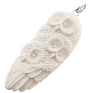 "3"" HAND CARVING OWL TRIO BISON BONE HANDMADE 925 STERLING SILVER pendant"