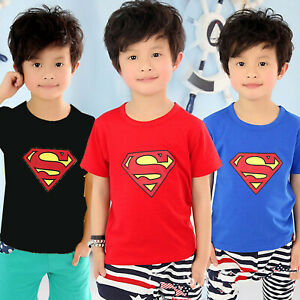 Kids Boys Superman Character Casual Short Sleeve T-shirt Round Neck Tee Clothes