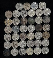"ROLL OF WASHINGTON QUARTERS  90% Silver  (40 Coins) ""WORN/DAMAGED"" LOT L79"