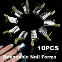 UK Reusable UV Gel Acrylic French Tips Nail Art Extension Guide Form Tool 10Pcs