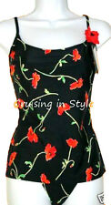 Gottex Swimsuit Black Floral Love Story 2 Piece Tankini Ladies SZ 6 New