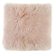 PINK MONGOLIAN SHEEPSKIN FUR CUSHION PILLOW SQUARE SHAGGY CURLY HAIR TIBETAN