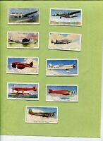 1938 W.D. & H.O. WILL'S CIGARETTES SPEED 9 COLLECTOR CARD LOT AIRPLANES