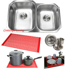 "32"" Stainless Steel Double 60/40 Bowl 18 Gauge Undermount Kitchen Sink Dish Rack"
