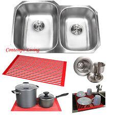 "32"" Stainless Steel Double 60/40 Bowl 18 Gauge Undermount Kitchen Sink Dish Rack"