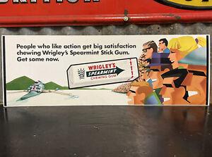 WRIGLEY'S SPEARMINT CHEWING GUM Australian Vintage Shop Display Sign RARE