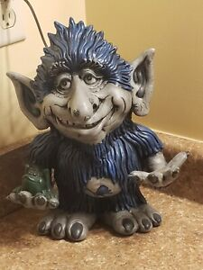 Collectible Hand Painted Ceramic DETROIT LIONS Light Up Troll Statue