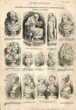 Bustes portraits de Voltaire Corneille Racine Marivaux Rotrou ILLUSTRATION 1857