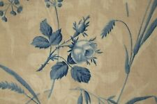 Curtain Antique French blue floral c1860 drape shabby chic country faded