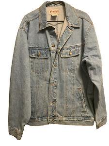 Vintage Wrangler Trucker Blue Jean Denim Jacket Men's XL Rugged Wear