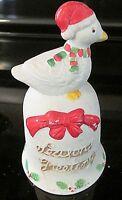 Vintage Christmas Duck/Goose Porcelain Bell Ornament Season Greeting