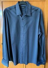 M&S Autograph Double Cuff Long Sleeved Silver Striped Shirt - Size XXL