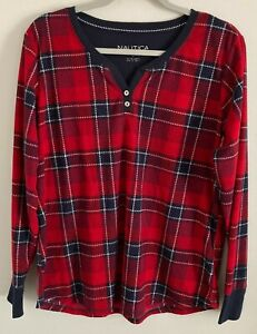 Nautica Men's Flannel Pajama Top Size Large Red Plaid Long Sleeves