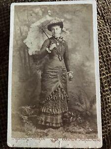 Victorian CDV Photo Fashion Woman W/ Parasol - Smyth, Weston Super Mare