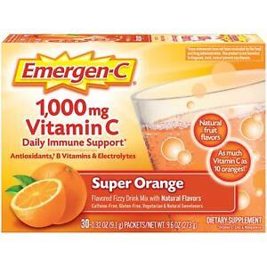 Emergen-C Vitamin C Daily Immune Support Fizzy Drink Mix Super Orange 30 pack