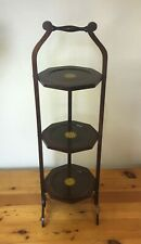 EDWARDIAN 3-TIER MAHOGANY INLAID FOLDING CAKE STAND=ANTIQUE=TEA=c1910=ELEGANT!!!