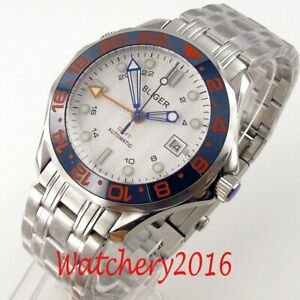 41mm Bliger White Dial Sapphire Glass GMT Ceramic Bezel Seeing through back Auto