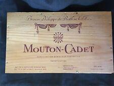 Vintage Mouton-Cadet French Wood Wine Box Baron Philippe de Rothschild France