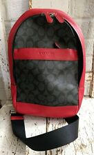 LN! Coach Leather Mini Sling Backpack Red & Charcoal - msrp $350