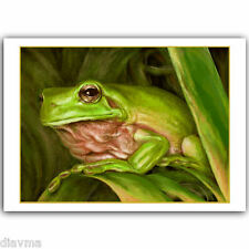 © ART - Painting Realism Green TREE FROG Wildlife Animal Original print by Di