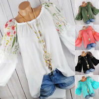 Women Retro Boho Floral Blouse Long Bell Sleeve Top Lady Embroidered Tunic Shirt