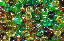 "Czech Seed Beads Size 11/0 "" MIXTURE MARDI GRAS GREEN "" Loose 40 Grams"