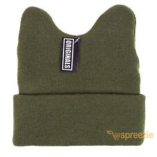 Olive Green Beanie Cat Ears Cuffed Warm Ski Winter Knitted Cap Hat Fashion Cute